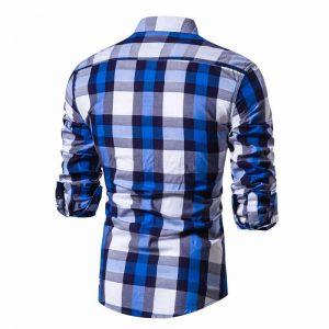 Camisa Xadrez Azul e Branco Masculina
