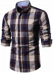 Camisa Xadrez Masculina Marrom e Bege