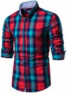 Camisa Xadrez Masculina Vermelha e Verde