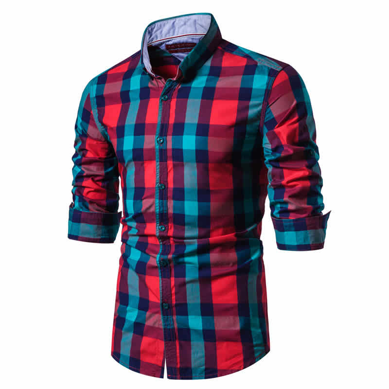 Camisa Xadrez Vermelho e verde Masculina