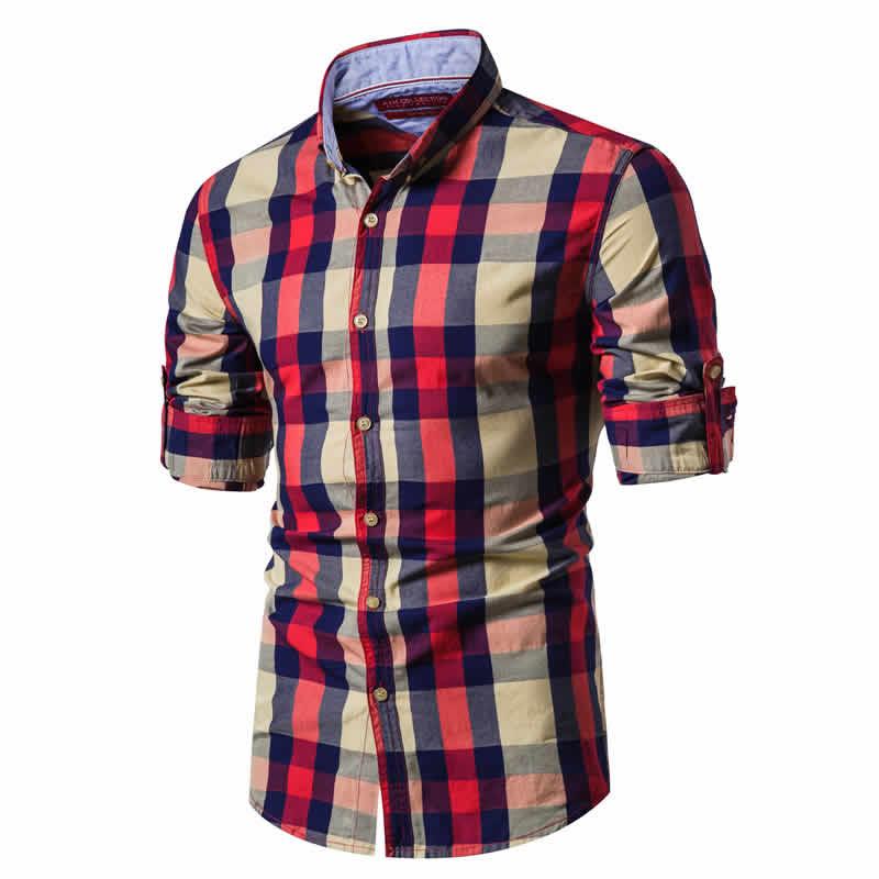 Camisa Xadrez Vermelha e Bege