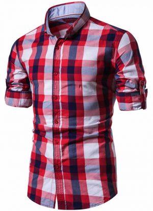 Camisa Xadrez Masculina Vermelha e Branca