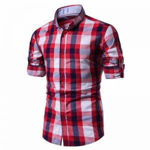Camisa Xadrez Vermelha e Branco