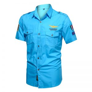 Camisas Masculinas Militar, Camisetas Tipo Militar, Azul, Camisas Militares