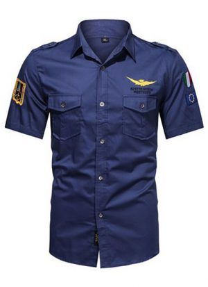 Camisas Masculinas Militar, Camisetas Tipo Militar, Azul Escuro, Camisas Militares