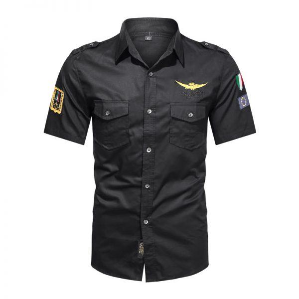 Camisas Masculinas Militar, Camisetas Tipo Militar, Preta, Camisas Militares
