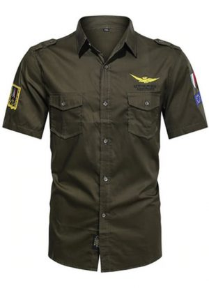 Camisas Masculinas Militar, Camisetas Tipo Militar, Verde, Camisas Militares