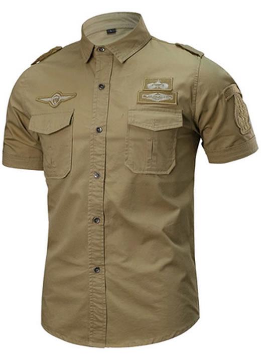 Camisa Militar Tipo Estilo Masculina Manga Curta Reserva Azul Marrom