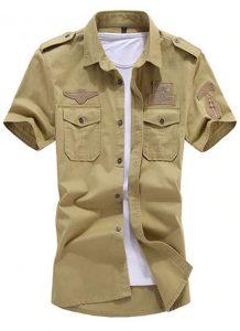 Camisa Militar Tipo Estilo Masculina Manga Curta Reserva Marrom