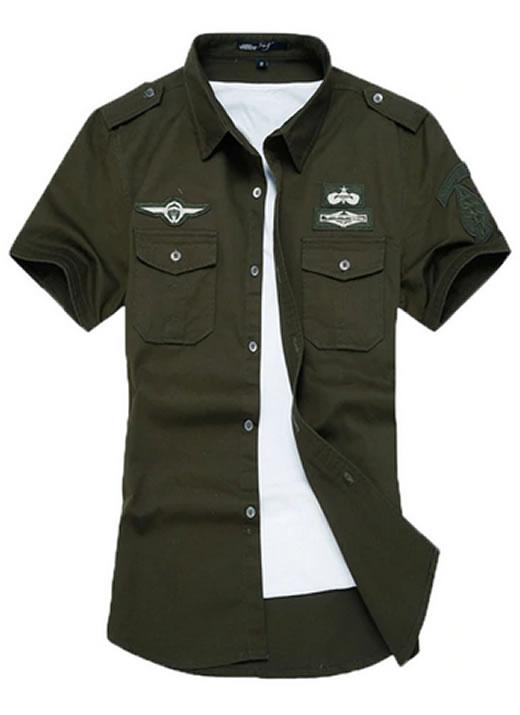 Camisa Militar Tipo Estilo Masculina Manga Curta Reserva Verde