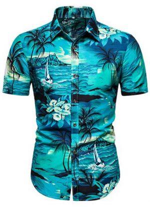 Camisas Floridas Azul Praia Moda Verão Homem Estilosa