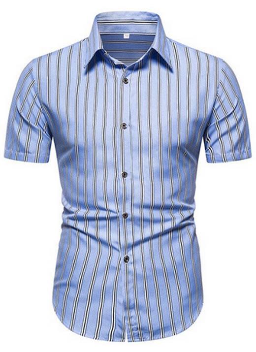 Camisa Listratrada Azul Claro Masculina Homem Slim Fit Verão Moda Estilosa Manga Curta
