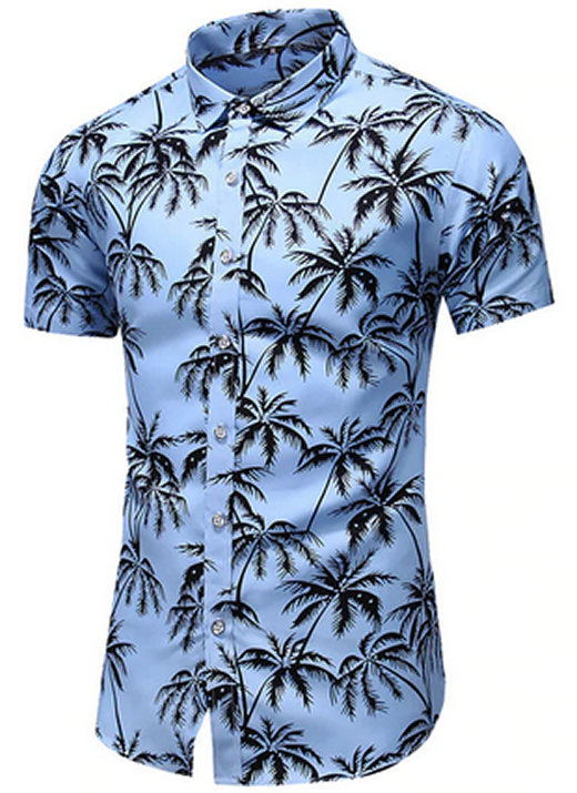 Camisa Florida Plants Coconut Leaves Masculina Camisas E Acessórios